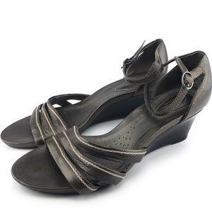 CLARKS Artisan Metallic Ankle Strap Wedge Size 8.5